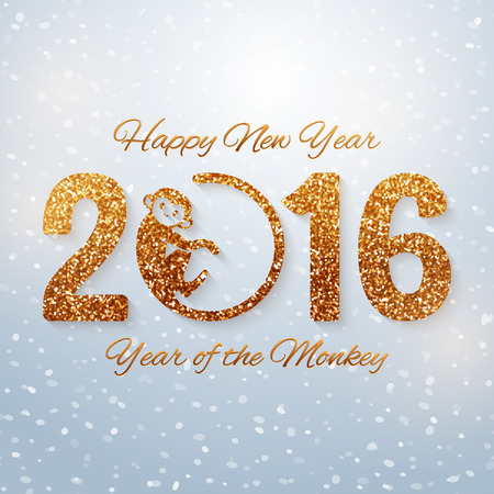 Cute New Year postcard with golden text, year of the monkey, year 2016 design, vector illustration Ilustração