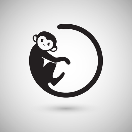 monkey silhouette: Cute monkey icon in a shape of a circle, New Year 2016, vector illustration icon design
