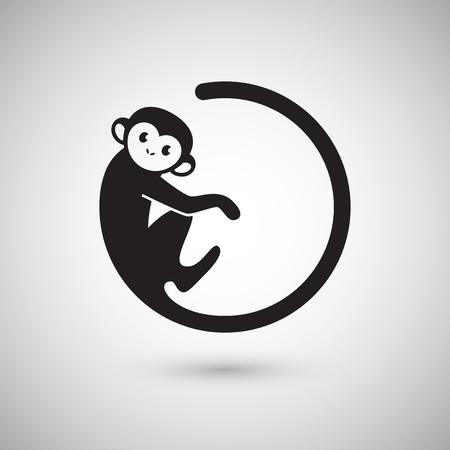 simbolo: Icona Carino scimmia in una forma di un cerchio, Capodanno 2016, illustrazione vettoriale icona del design Vettoriali