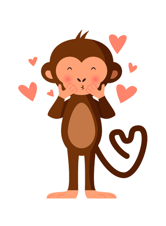 romantic kiss: Cute monkey blowing kisses, romantic vector illustration Illustration