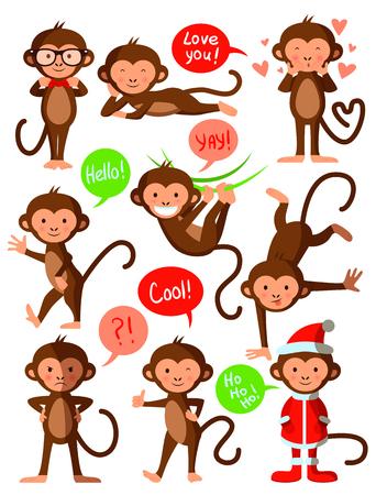 marmoset: Set of cute funny monkeys, vector illustration design