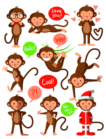 Set of cute funny monkeys, vector illustration design