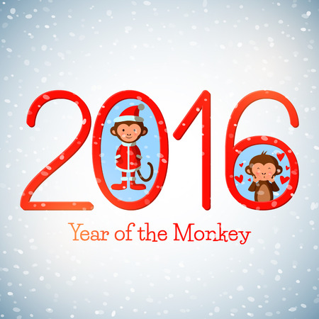 marmoset: Happy New Year 2016 cute greeting card with funny monkeys, vector illustration