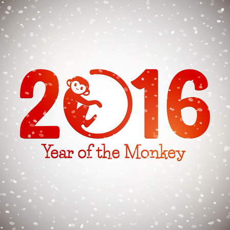 Cute New Year postcard with monkey symbol on snow background, year of the monkey 2016 design, vector illustration