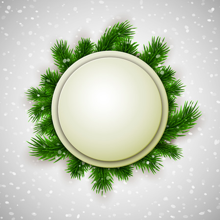 blank tag: White blank banner decorated with fir branches on show background, winter, Christmas, New Year design, vector illustration