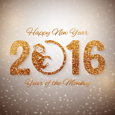 Cute New Year postcard with golden text, year of the monkey, year 2016 design, vector illustration Vectores