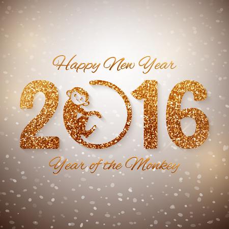 monos: Postal linda de A�o Nuevo con el texto de oro, a�o del mono, a�o de dise�o 2016, ilustraci�n vectorial