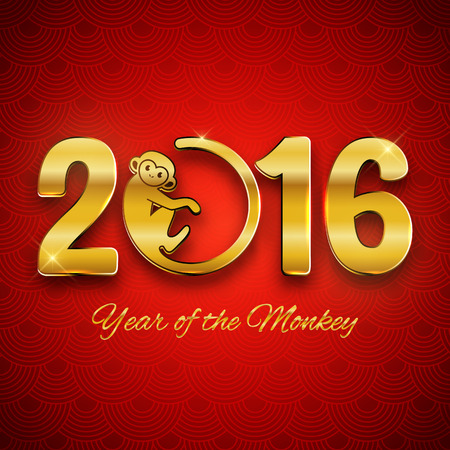year greetings: New Year postcard design, gold text with monkey symbol on red background, year of the monkey 2016 design, postcard, greeting card, banner, vector illustration