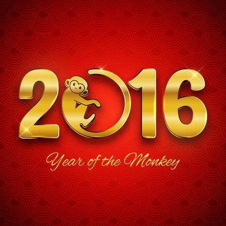 monos: Nuevo dise�o de la postal del A�o, el texto del oro con el s�mbolo de mono en fondo rojo, a�o del dise�o del mono 2016, tarjetas postales, tarjetas de felicitaci�n, bandera, ilustraci�n vectorial
