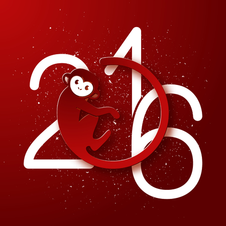 Cute New Year postcard with monkey symbol on red background, year of the monkey 2016 design, vector illustration Ilustrace