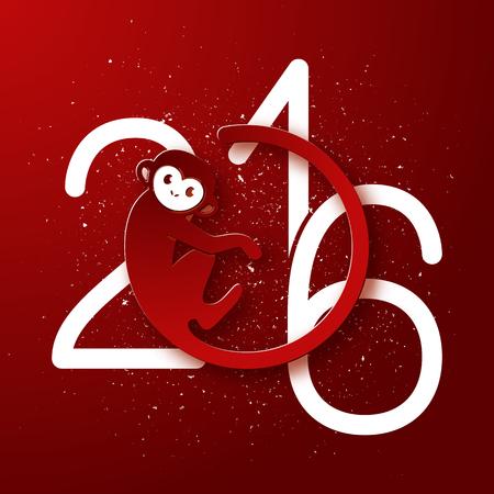 monos: Postal linda de A�o Nuevo con el s�mbolo de mono en fondo rojo, a�o del dise�o del mono 2016, ilustraci�n vectorial
