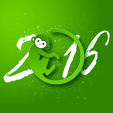 Cute New Year postcard with monkey symbol on green background, year of the monkey 2016 design, vector illustration