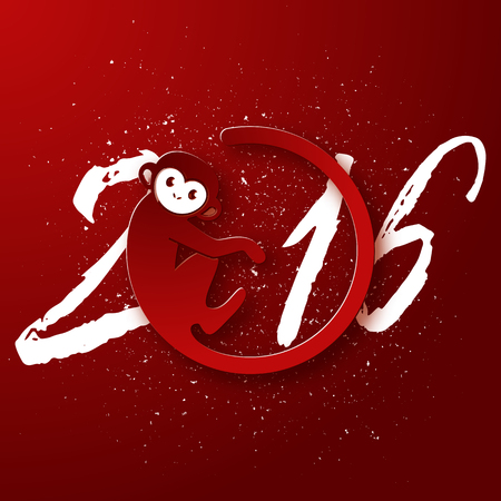 marmoset: Cute New Year postcard with monkey symbol on red background, year of the monkey 2016 design, vector illustration Illustration