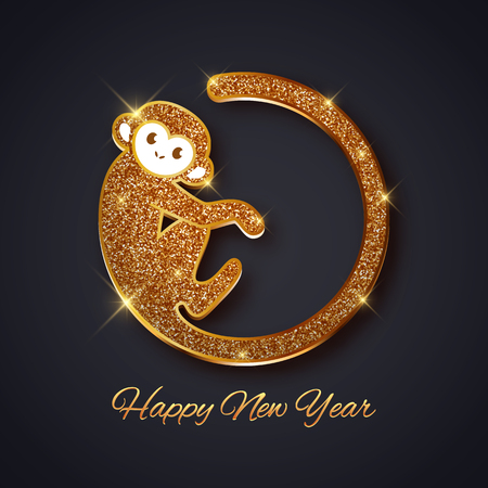christmas gold: New Year symbol 2016 gold glitter monkey design, postcard, greeting card, banner, vector illustration