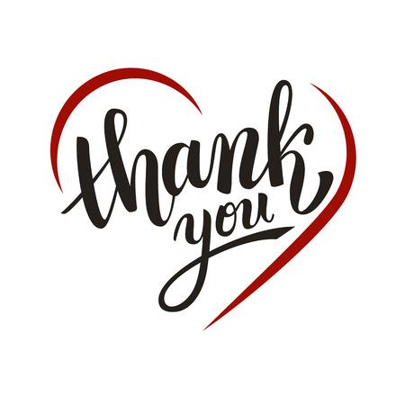 handwritten: Thank you handwritten vector illustration, dark brush pen lettering with red heart isolated on white background