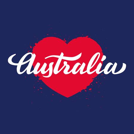 handwritten: Australia handwritten text on red heart, brush pen lettering, t-shit, poster, vector illustration Illustration