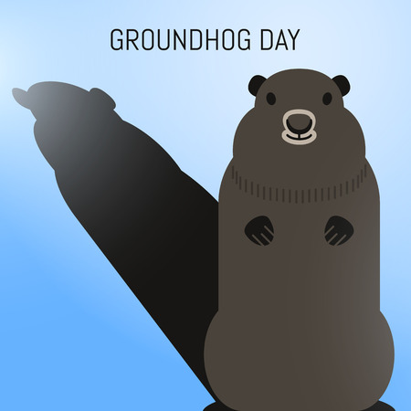 2nd: Groundhog Day February 2nd vector illustration with cute groundhog