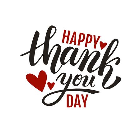 handwritten: Happy Thank you Day handwritten vector illustration, brush pen lettering