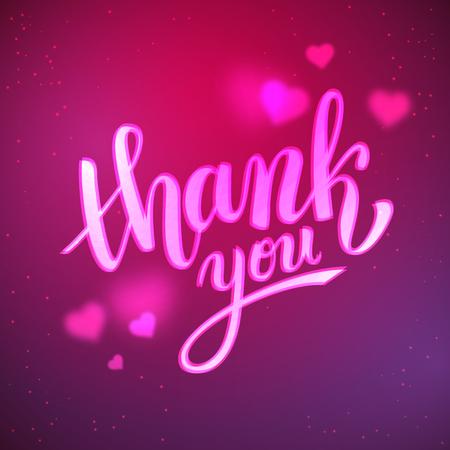 handwritten: Thank you handwritten vector illustration, brush pen lettering on unfocused background with bokeh hearts