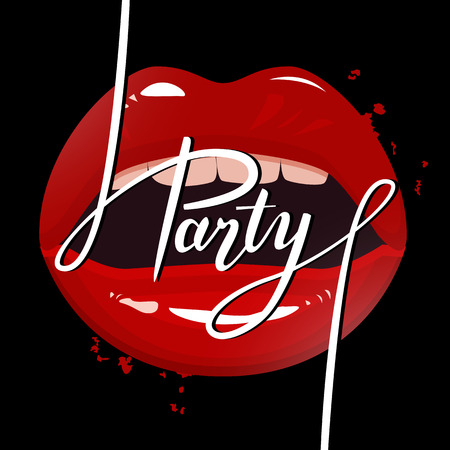 mouth kiss mouth: Party banner template, red seductive lips and party brush pen lettering, vector illustration