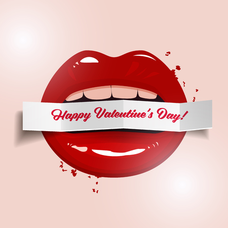 gloss: Happy Valentines Day vector illustration, red seductive lips holding a paper banner on light background Illustration