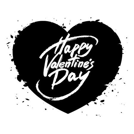 beso labios: Feliz Día de San Valentín texto escrito a mano, cepillo de la pluma letras en el corazón, ilustración vectorial