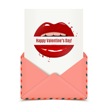 seductive: Happy Valentines day vector card in a pink envelope, red seductive lips holding a banner