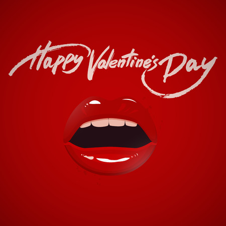 seductive: Valentines day greeting card, red lips and brush pen lettering, vector illustration