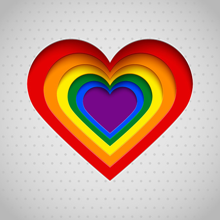 romantic sex: Rainbow heart vector illustration, Valentine, LGBT