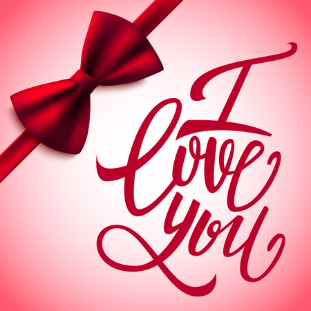 handwritten: I love you handwritten brush pen lettering and red bow, Valentines Day, vector illustration