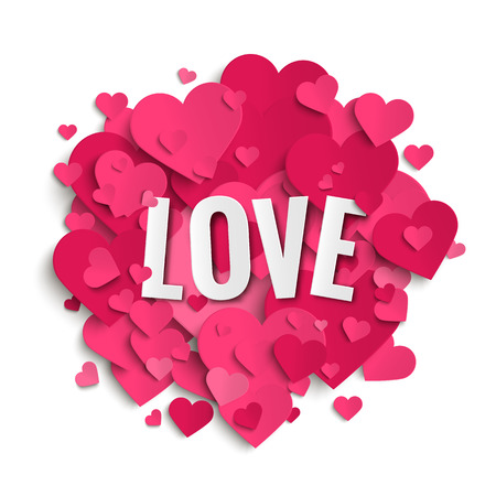 Romantic image with pink hearts, love, Valentine, vector illustration Illustration