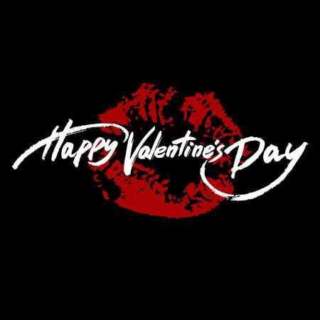 lipstick brush: Happy Valentines Day handwritten text, brush pen lettering on lipstick trace, vector illustration