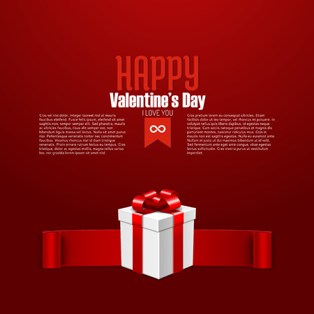 postcard box: Happy Valentines Day postcard with gift box, vector illustration