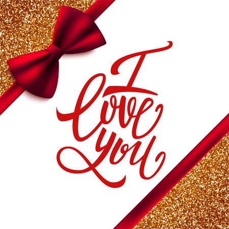 handwritten: I love you handwritten brush pen lettering on glitter background with red bow, Valentines Day, vector illustration