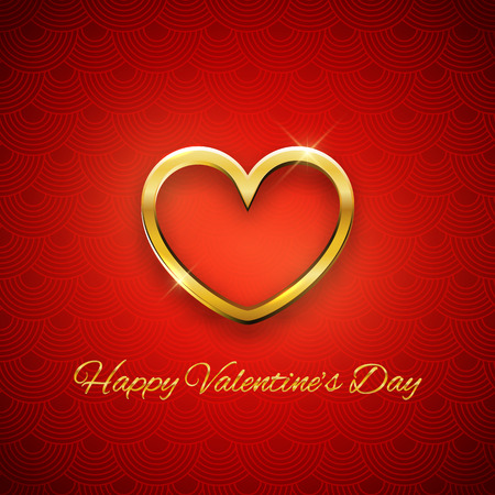 golden heart: Happy Valentines Day card, golden heart on red background, vector illustration