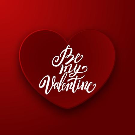handwritten: Be My Valentine handwritten brush pen lettering on red heart banner, Valentines Day, vector illustration