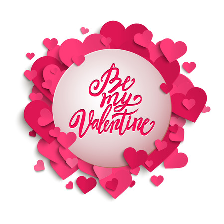 handwritten: Be My Valentine handwritten brush pen lettering on banner with pink hearts, Valentines Day, vector illustration Illustration