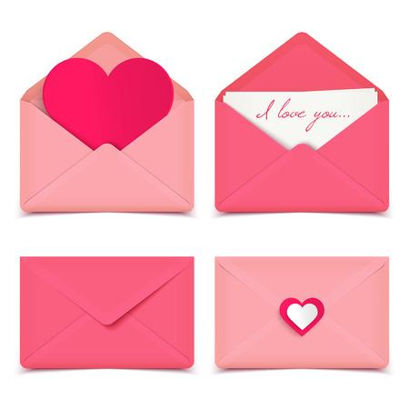 Set van vier roze Valentine romantic vector enveloppen op wit wordt geïsoleerd