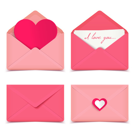 Set of four pink Valentine romantic vector envelopes isolated on white Illustration
