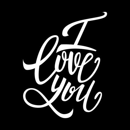 handwritten: I love you handwritten text, Valentines Day, brush pen lettering, vector illustration