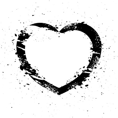 grunge heart: Black graphic grunge heart, vector illustration