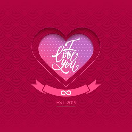 handwritten: Valentines Day postcard, vector illustration, handwritten I love you text and heart Illustration