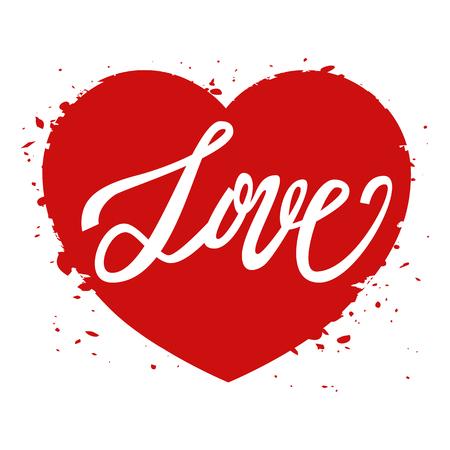 handwritten: Love handwritten text, Valentines Day, brush pen lettering on heart, vector illustration