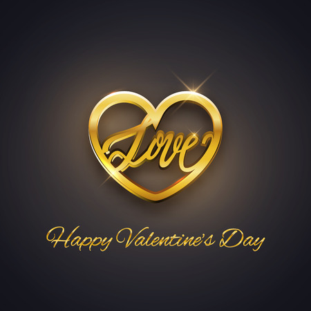 gold heart: Gold heart with love text, Valentines Day postcard, vector illustration Illustration
