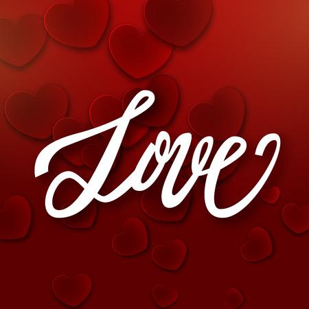 handwritten: Love handwritten brush pen lettering on red hearts background, Valentines Day, vector illustration