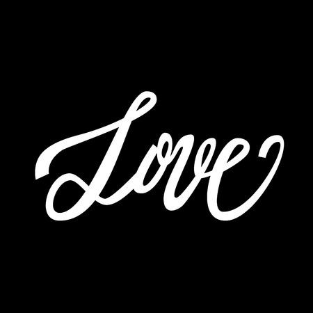 handwritten: Love handwritten text, Valentines Day, brush pen lettering, vector illustration