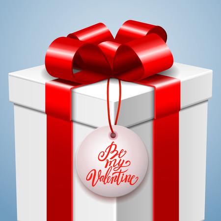 handwritten: Happy Valentines day postcard with gift box and handwritten love message