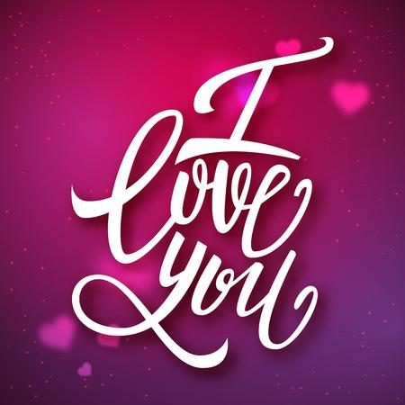 handwritten: I love you handwritten brush pen lettering on blurred background, Valentines Day, vector illustration