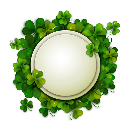 patrick backdrop: Saint Patricks Day background, round banner decorated with shamrock leaves