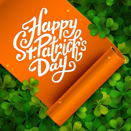 Happy Saint Patricks day message, brush pen lettering on orange ribbon and green shamrock background postcard, illustration Çizim